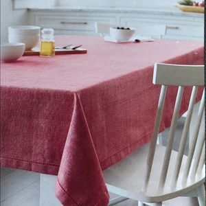 Threshold Red Oblong Tablecloth seats 8-10